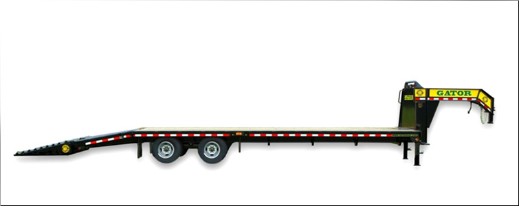 Gooseneck Flat Bed Equipment Trailer | 20 Foot + 5 Foot Flat Bed Gooseneck Equipment Trailer For Sale